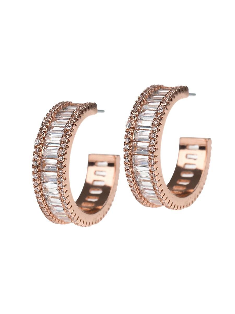 Women's Look of Real Rose Goldplated & Crystal Baguette Hoop Earrings