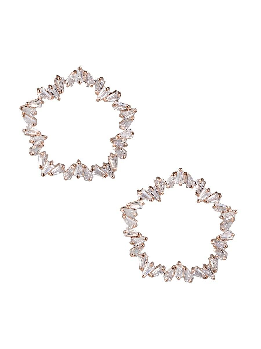 Women's Look of Real Rose Goldplated & Crystal Earrings
