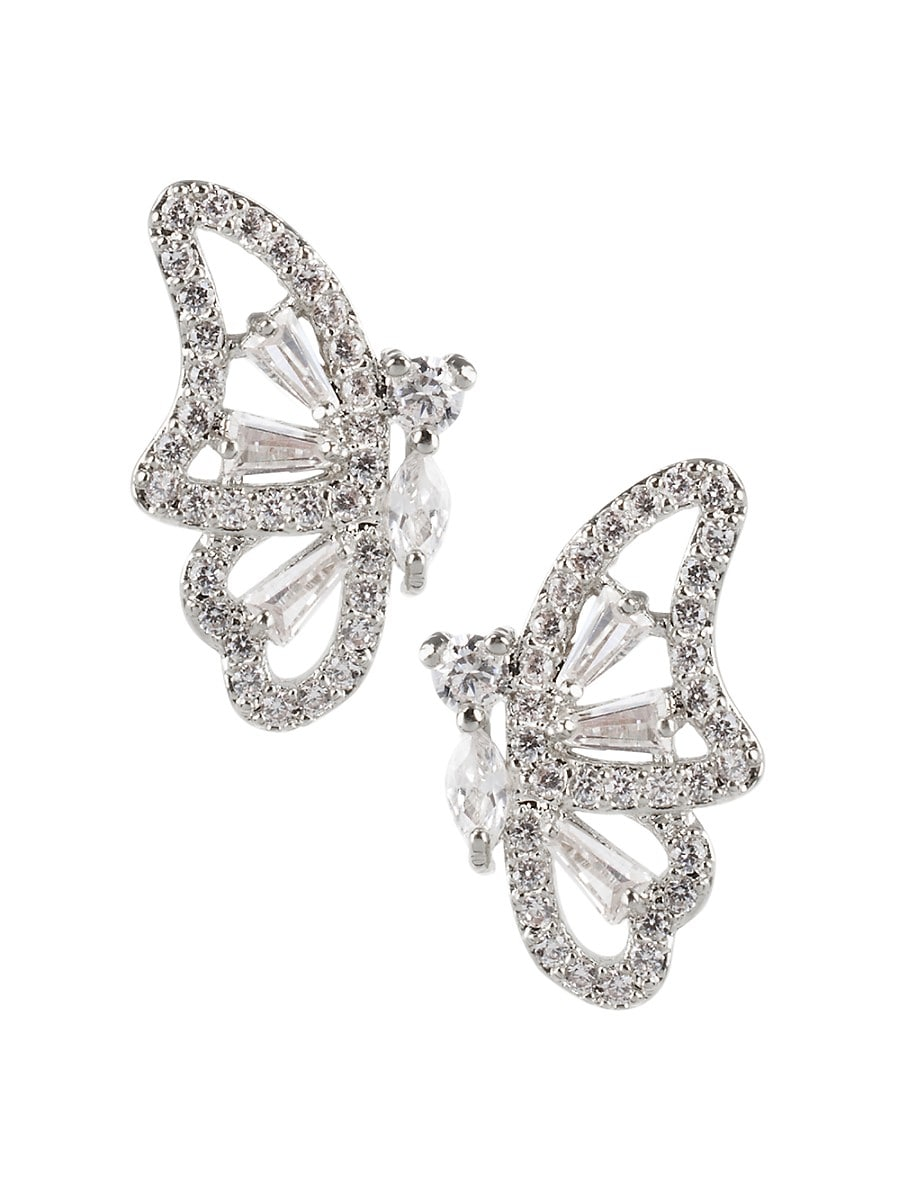 Women's Animal Trend Rhodium-Plated & Crystal Butterfly Earrings