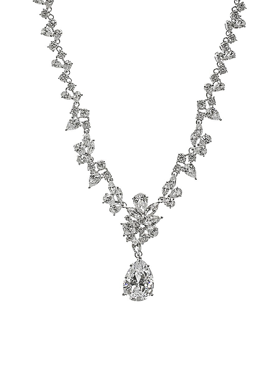 Women's Look of Real Rhodium-Plated & Crystal Necklace
