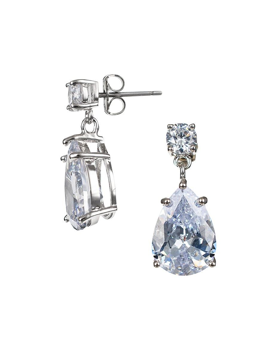 Women's Look of Real Rhodium-Plated & Crystal Drop Earrings