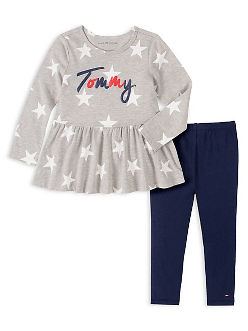 Tommy Hilfiger Cottons LITTLE GIRL'S 2-PIECE STAR-PRINT TUNIC & LEGGINGS SET