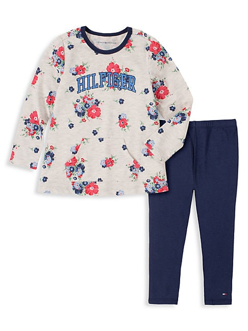 Tommy Hilfiger LITTLE GIRL'S 2-PIECE FLORAL TUNIC & LEGGINGS SET