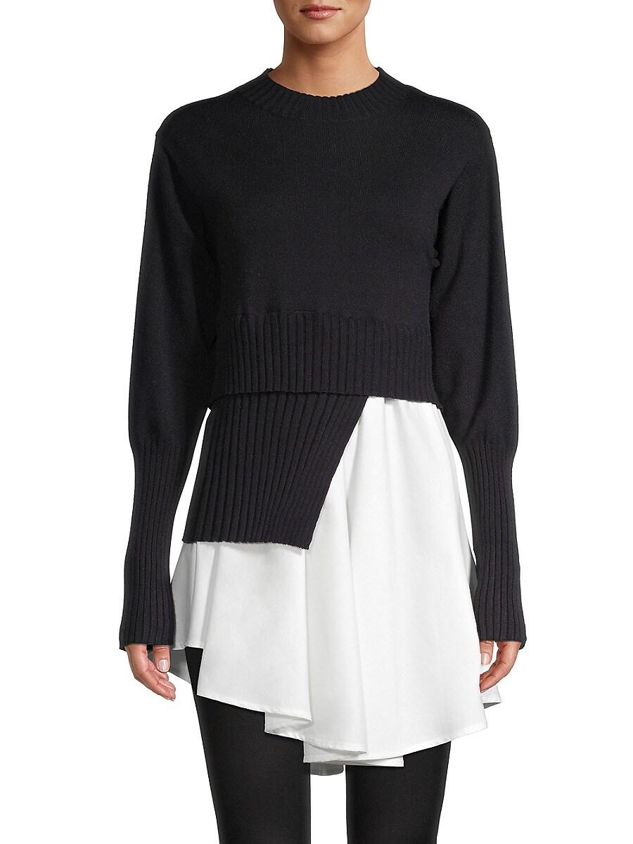 Women's Spliced Crewneck Sweater