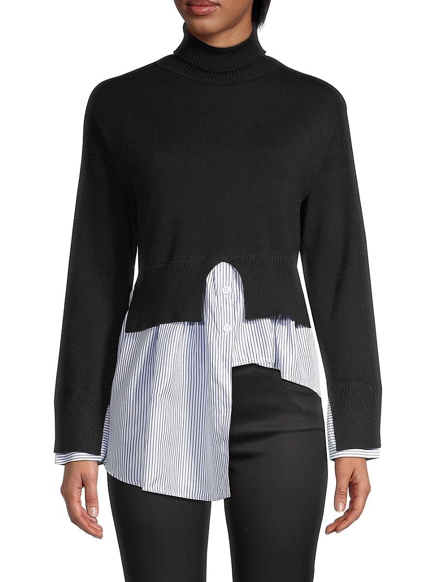 Women's Striped Splicing Turtleneck Sweater