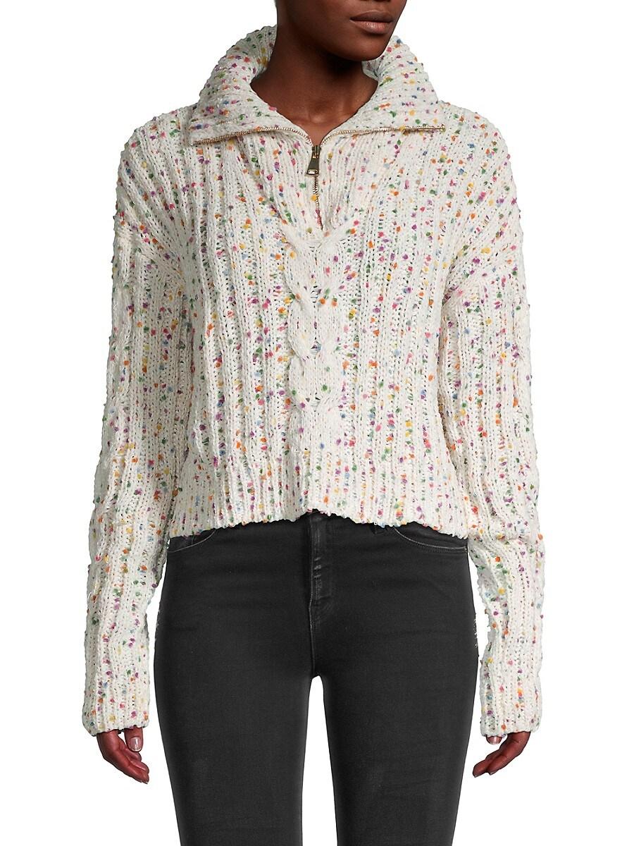 Women's Printed Quarter-Zip Sweater