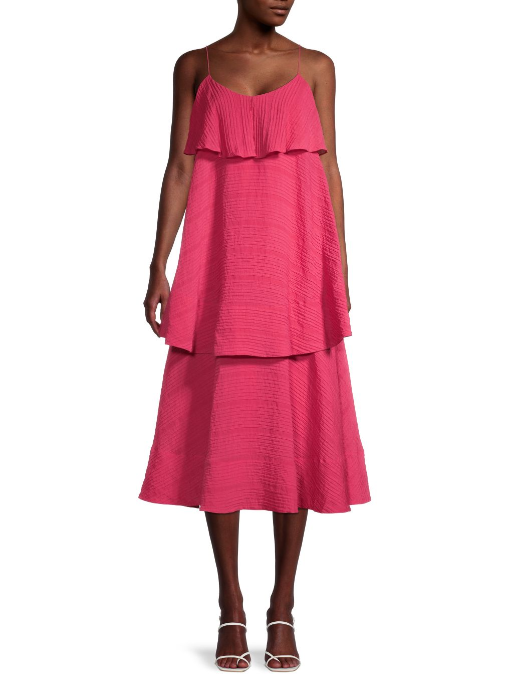 Club Monaco Tiered Crinkle Midi Dress