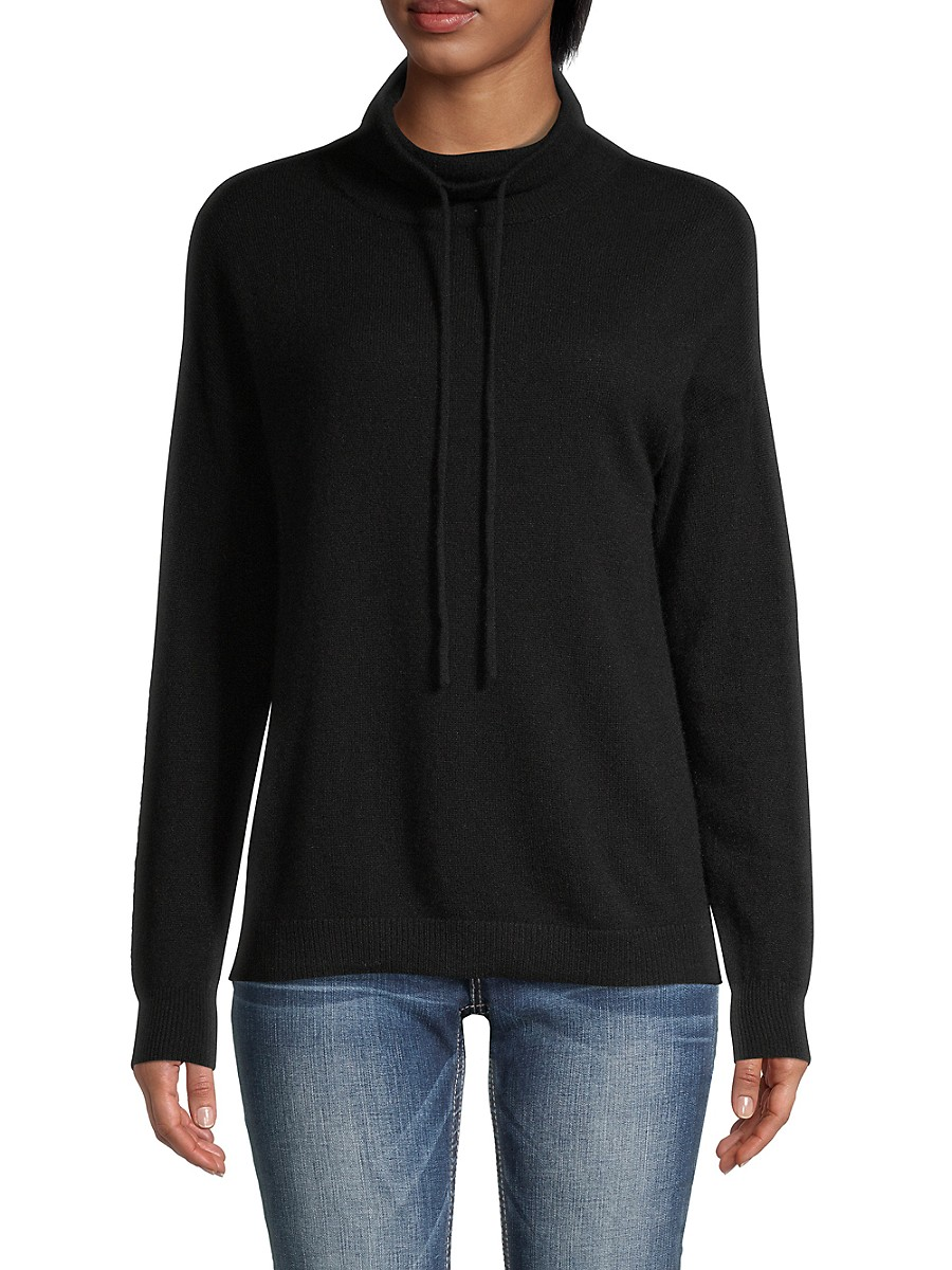 Women's Drawstring Funnelneck Cashmere Sweater