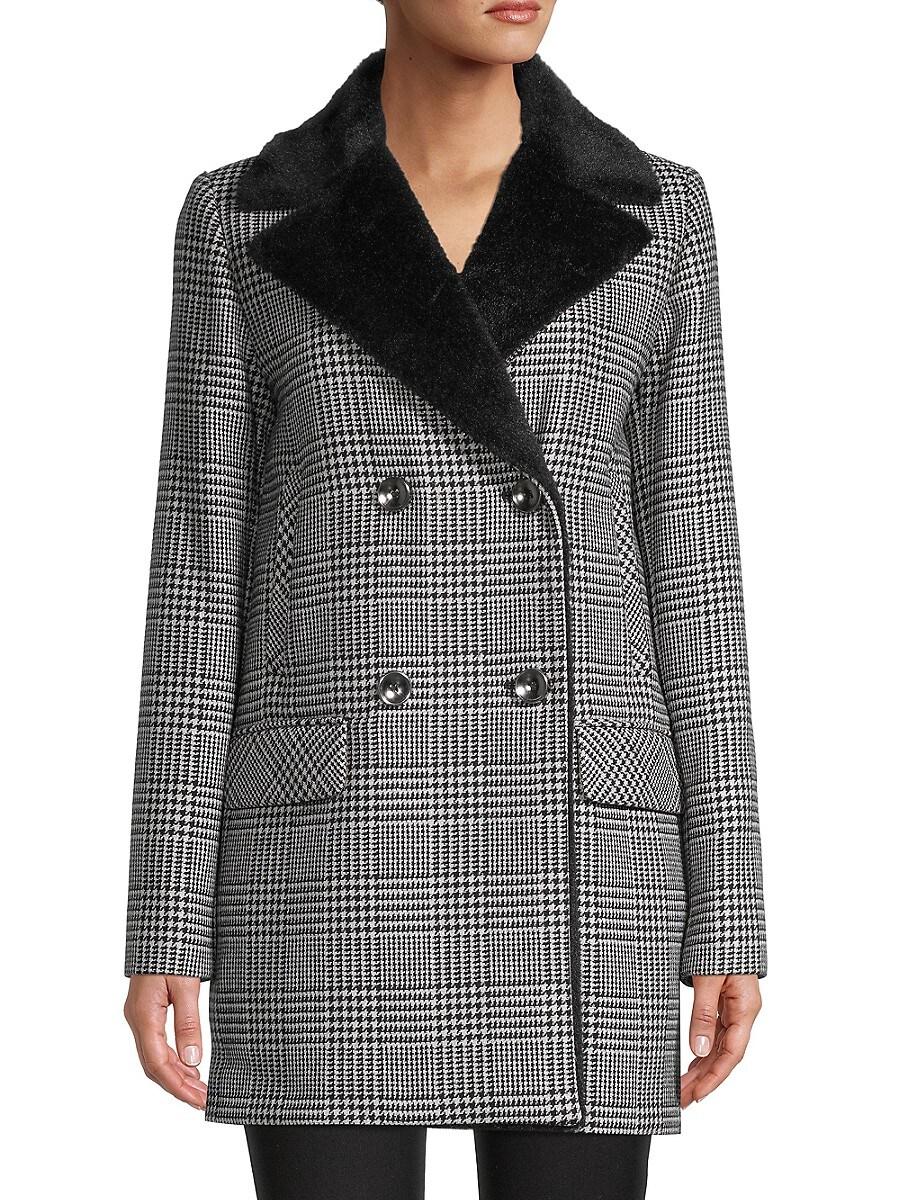 Women's Faux Fur & Wool-Blend Houndstooth Jacket