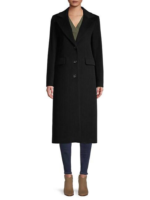 Cinzia Rocca Icons Notch Collar Wool-blend Coat In Black