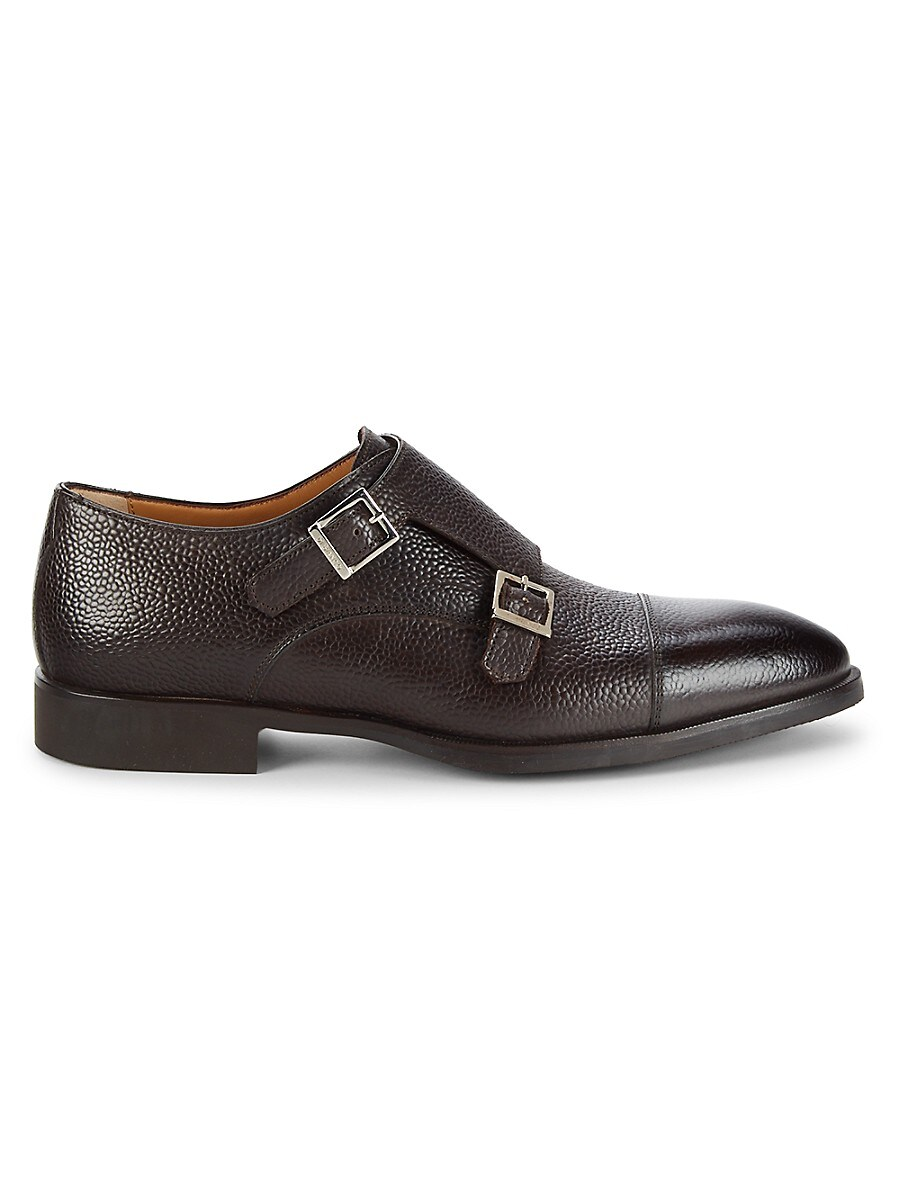 Double-Buckle Monk-Strap Suede Loafers