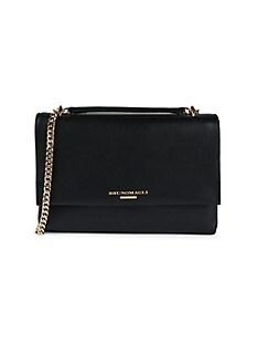 브루노 말리 시계 Bruno Magli Chain Leather Shoulder Bag,BLACK