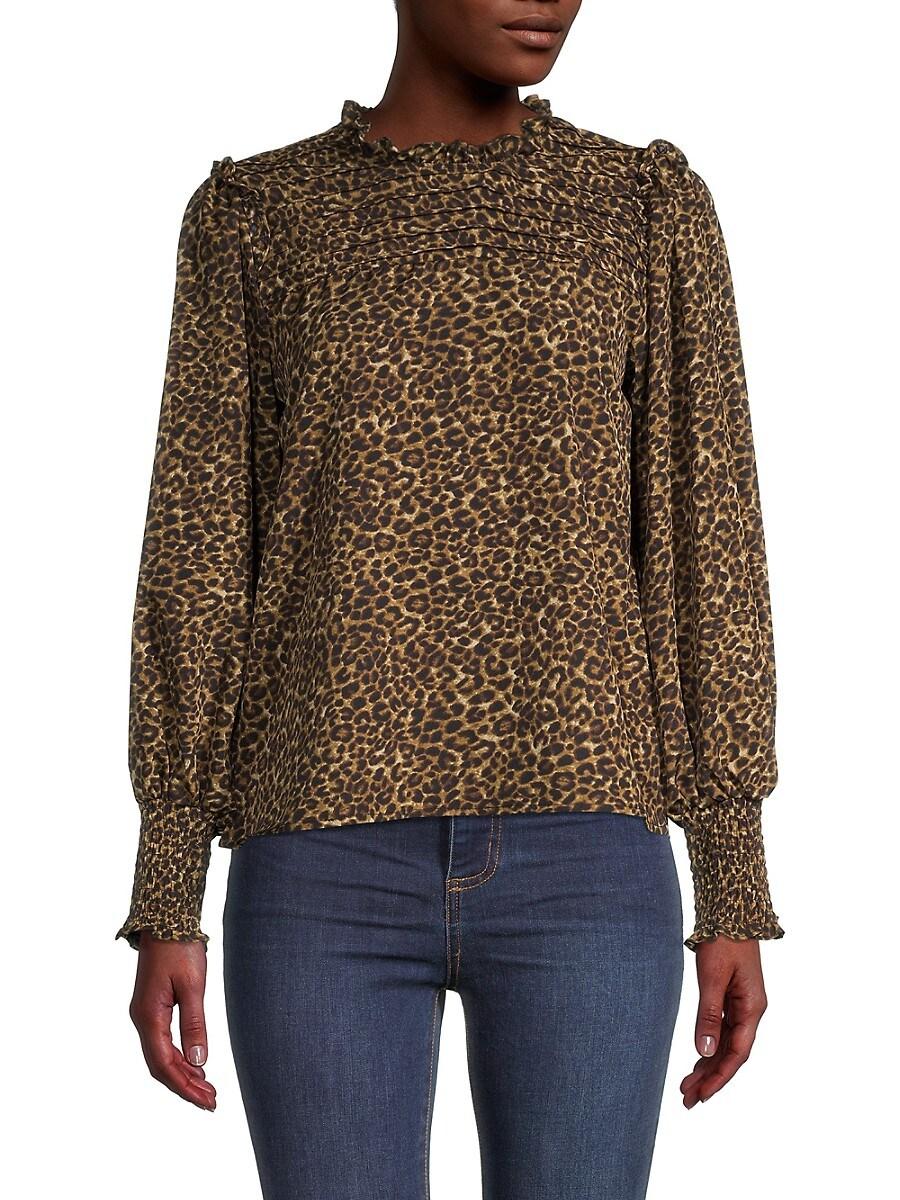 Women's Leopard-Print Ruffle Blouse