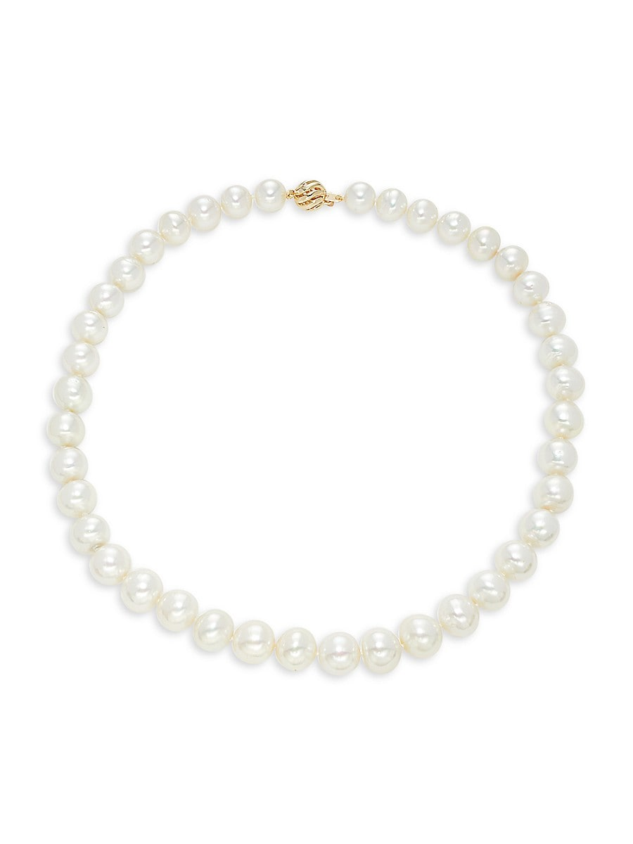 """Women's 14K Yellow Gold & 9-12MM White South Sea Pearl Necklace/18"""""""