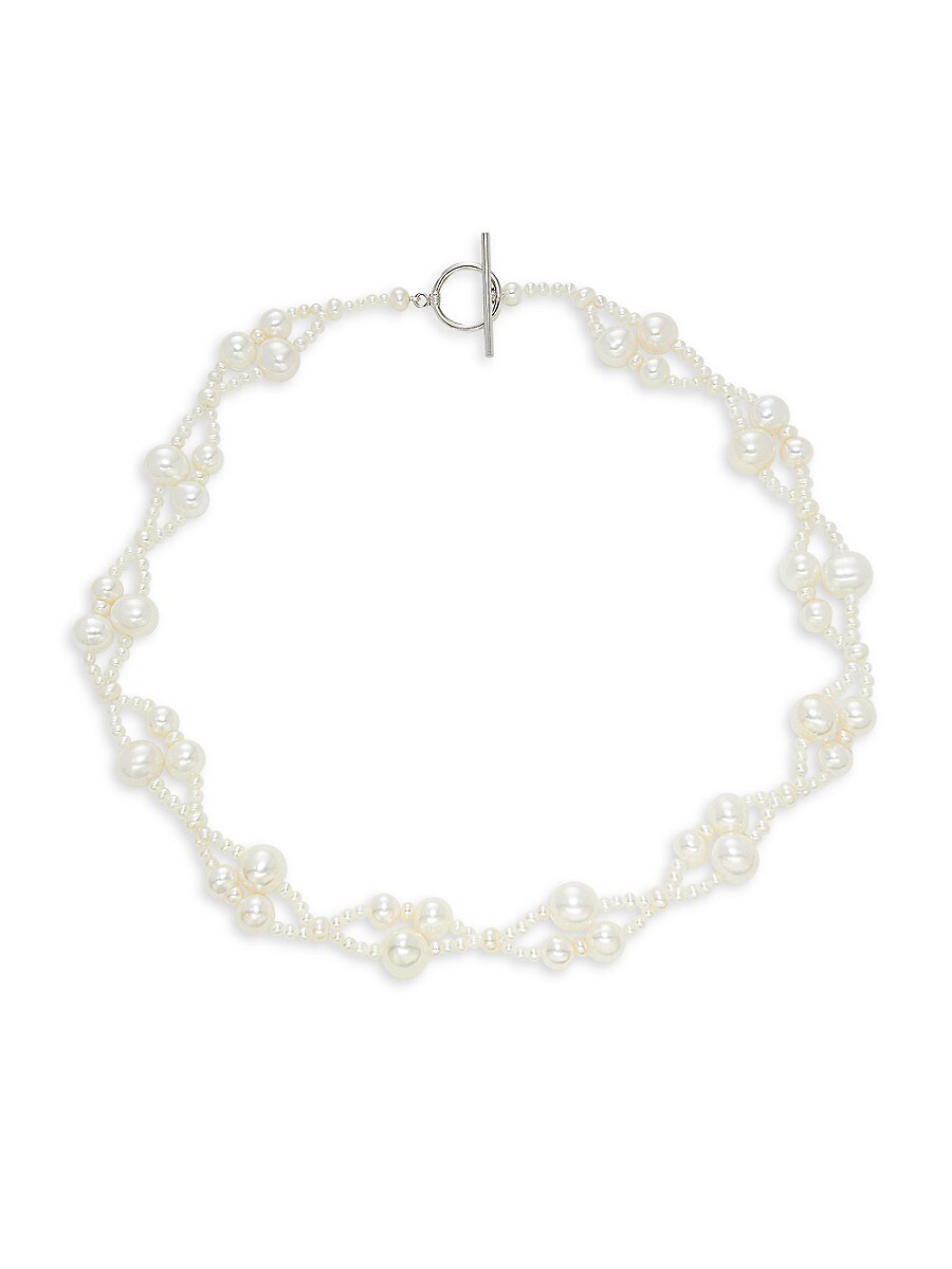 """Women's Sterling Silver & 3MM-9MM Cultured Freshwater Pearl Necklace/18"""""""