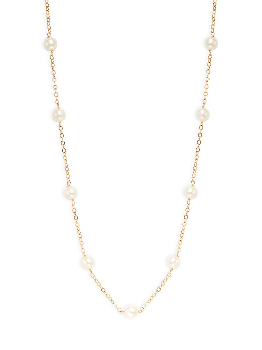 Women's 14K Yellow Gold & 5.5-6MM White Akoya Pearl Necklace