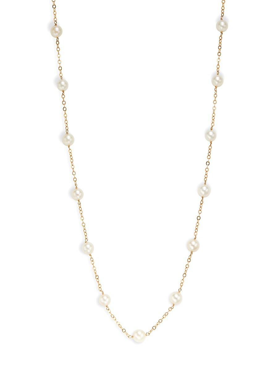 Women's 14K Yellow Gold & Akoya Cultured Pearl Tincup Necklace