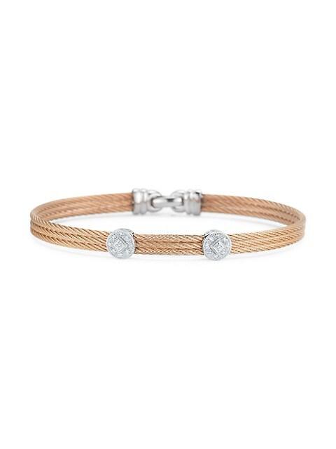 Alor Classique 18K Rose & White Gold, Diamond Coil Bracelet