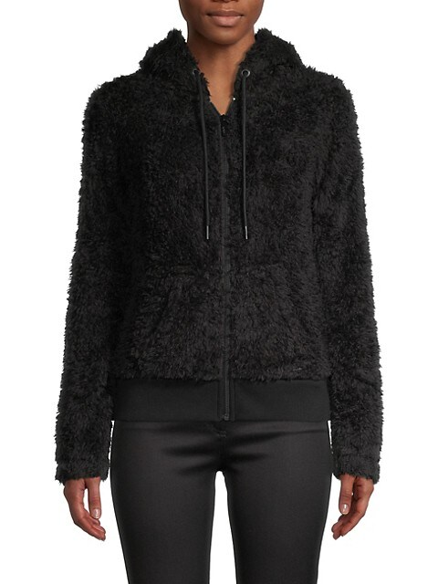 Marc New York Ultra Soft Faux Fur Hoodie In Black