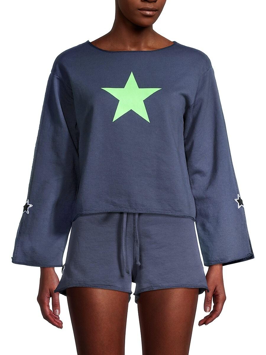 Women's Star-Print Cotton Cropped Top