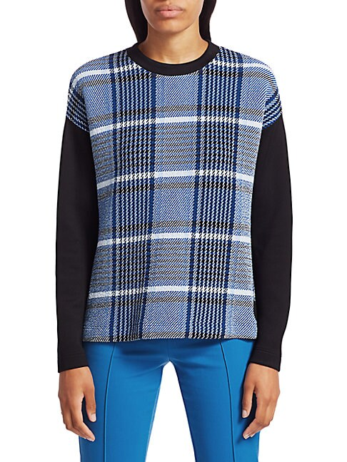 Akris Punto PLAID JERSEY SWEATSHIRT