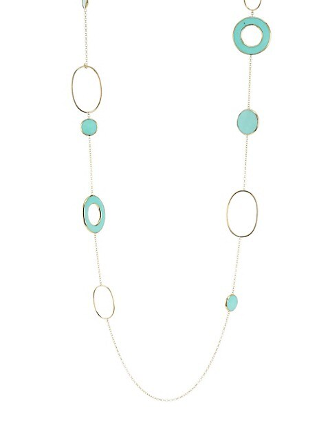 Ippolita Polished Rock Candy 18K Yellow Gold & Turquoise Mixed Link and Slice Necklace