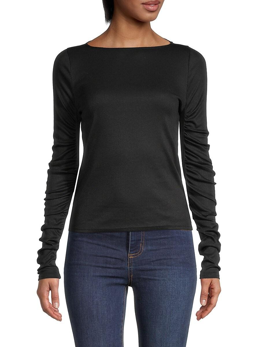 Women's Ruffled Long-Sleeve Stretch Top