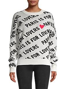 쟈딕 앤 볼테르 레터링 캐시미서 스웨터 Zadig & Voltaire Anouk C Paris Is For Lovers Cashmere Sweater,CHALK