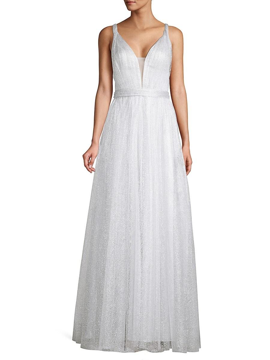 Women's Metallic Sparkle Sleeveless Ball Gown