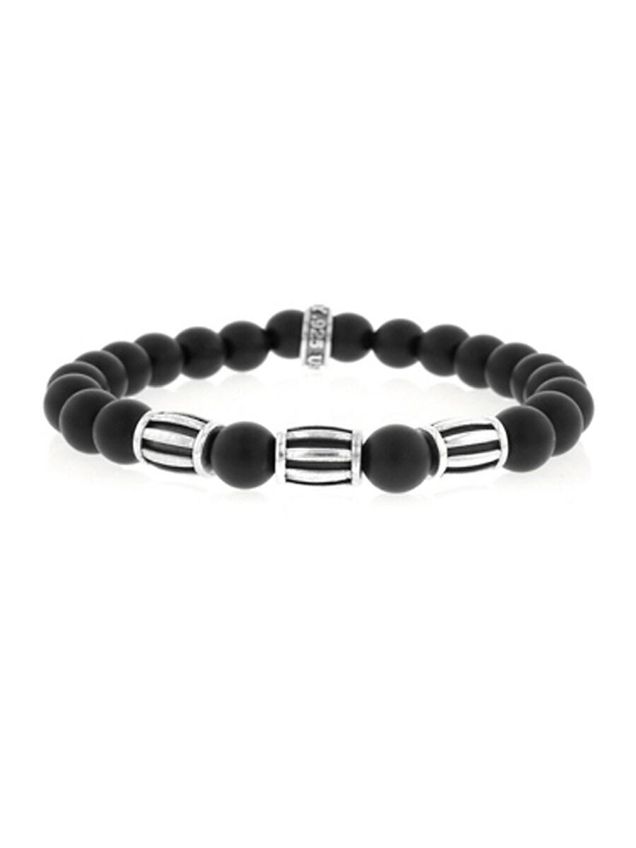 Men's Sterling Silver & Onyx Beaded Stretch Bracelet