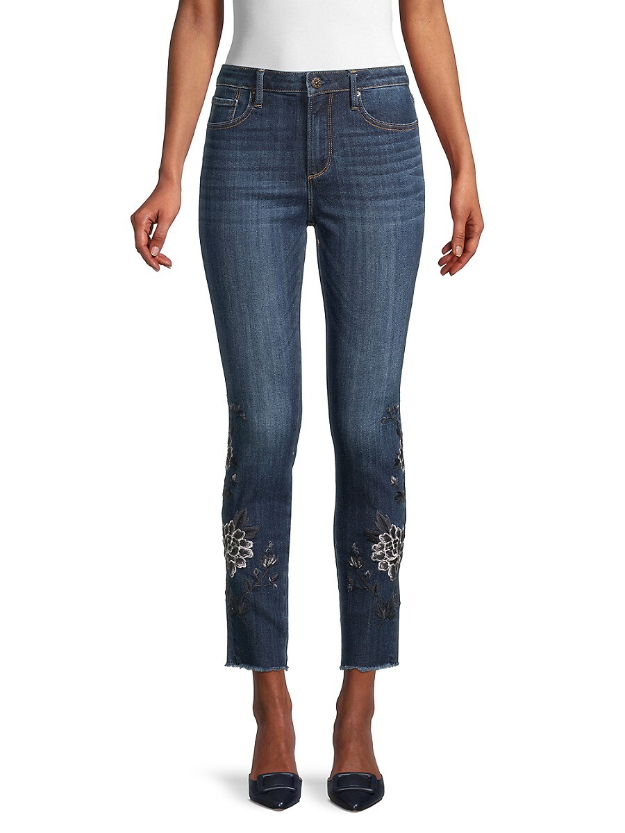 Driftwood Women's Floral Embroidered Jeans - Dark Wash - Size 24 (0)