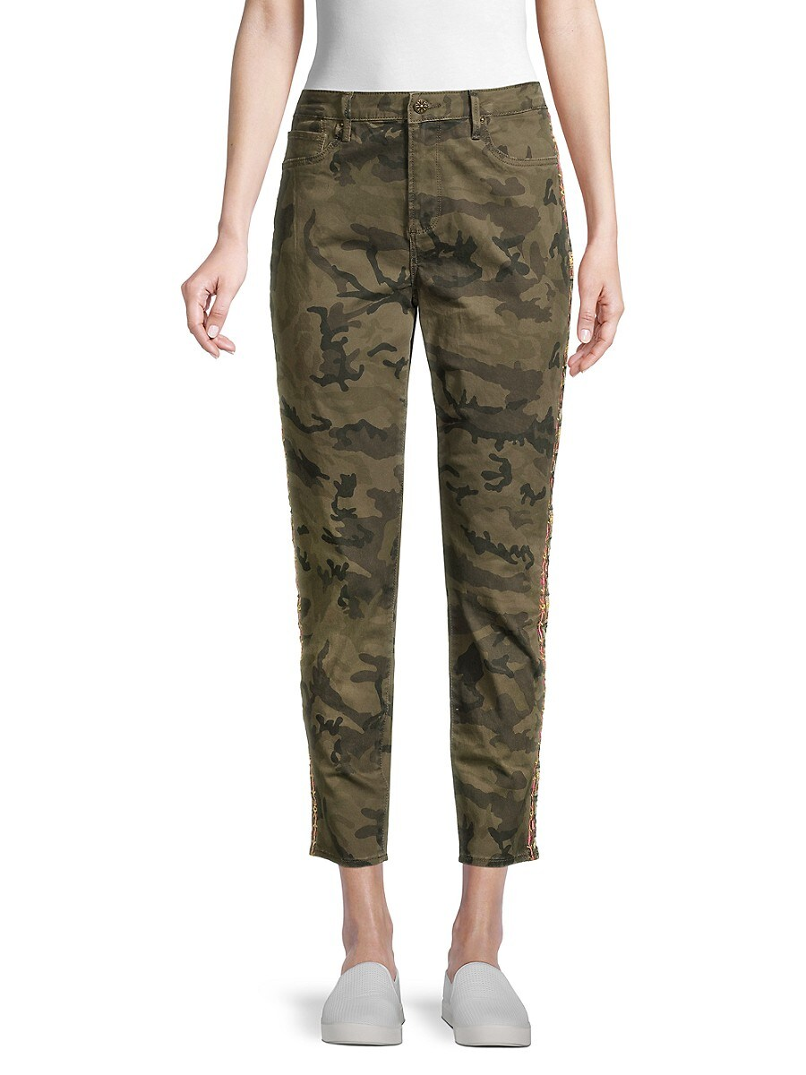 Women's Jackie High-Rise Embroidered Camo Ankle Jeans
