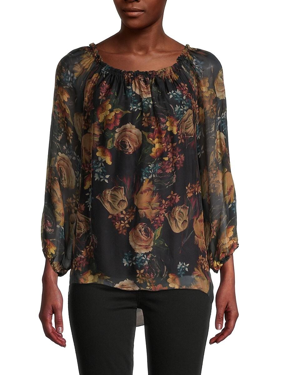 Women's Dark Floral Silk Blouse