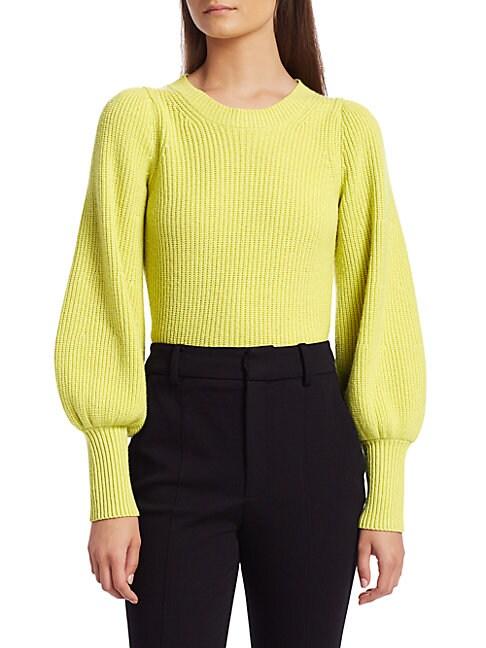 A.l.c Women's Eliana Puff-sleeve Wool & Cashmere-blend Knit Sweater In Citron