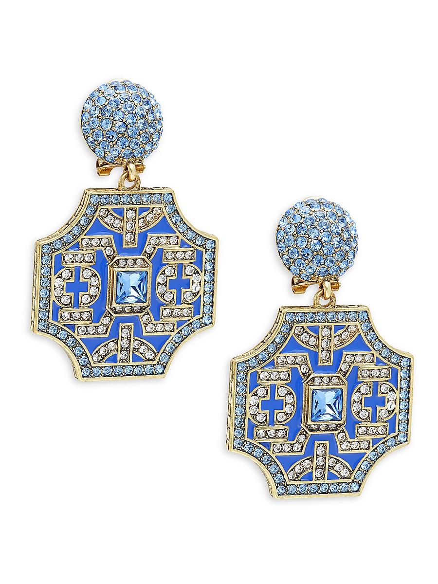 Women's Yellow Goldtone Crystal Statement Drop Earrings