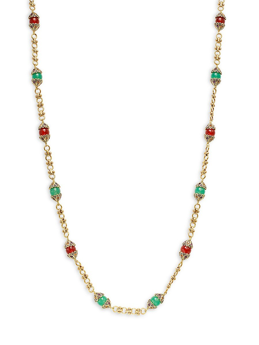 Women's Thoughtful Treasure Goldtone Crystal & Glass Beaded Station Necklace