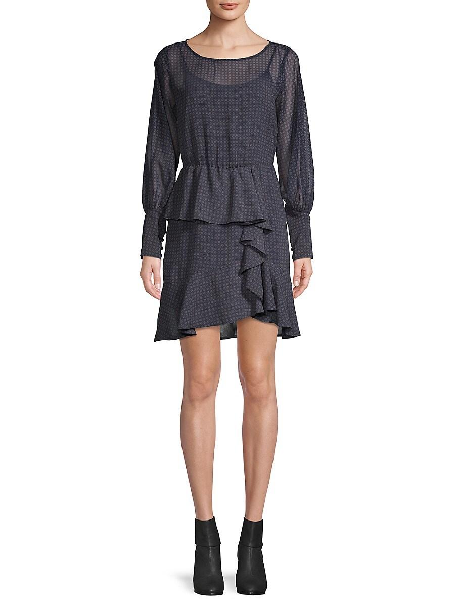Women's Ruffle-Trim Mini Printed Dress