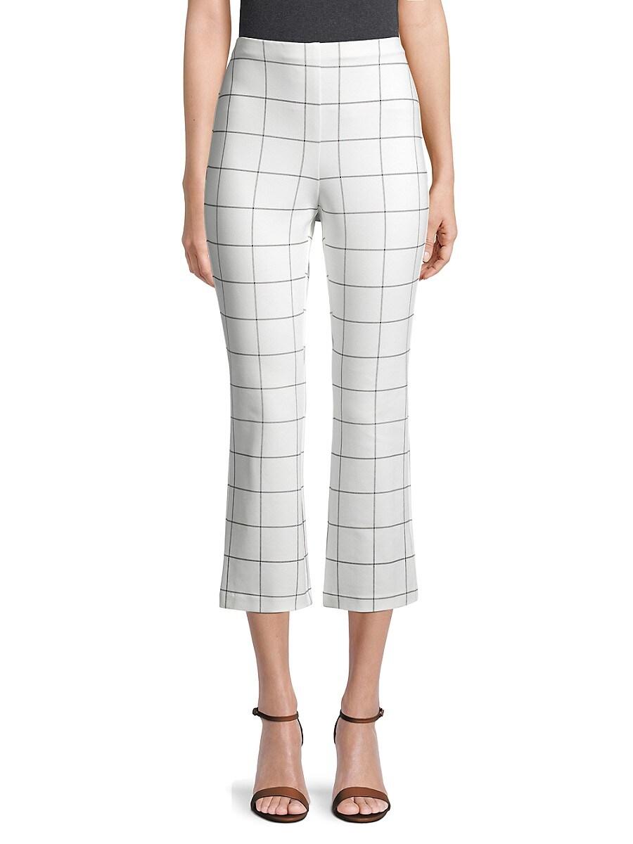 Bailey 44 Women's Jessie Windowpane Kick Flare Trousers - White - Size XS