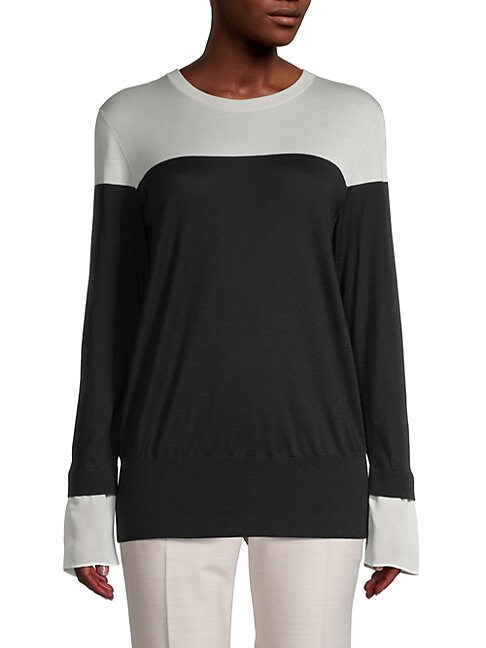 Akris Cashmere & Silk Twofer Sweater In Black