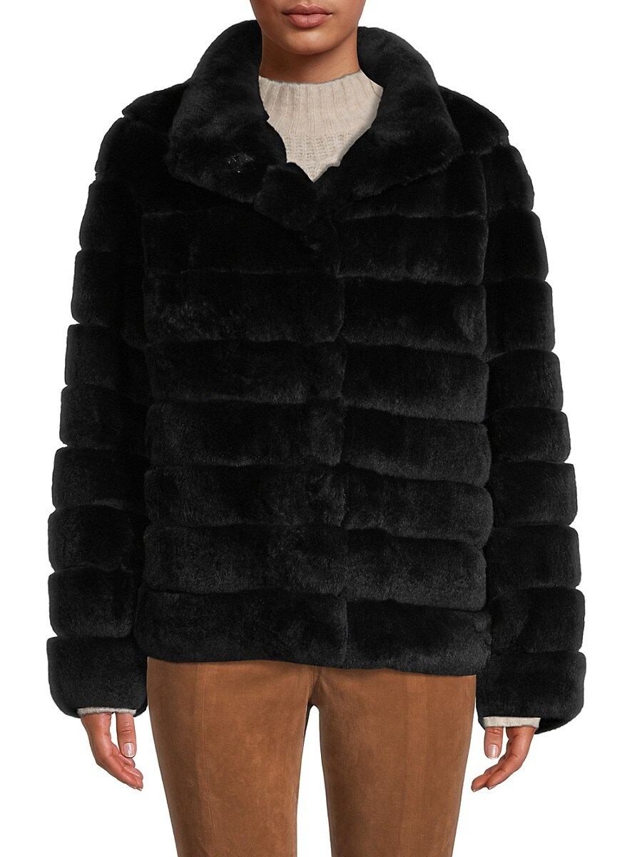 Women's Horizontal Rex Rabbit Fur Jacket