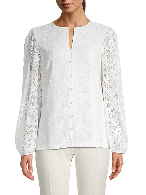 Karl Lagerfeld Cottons FAUX PEARL & FLORAL LACE BLOUSE