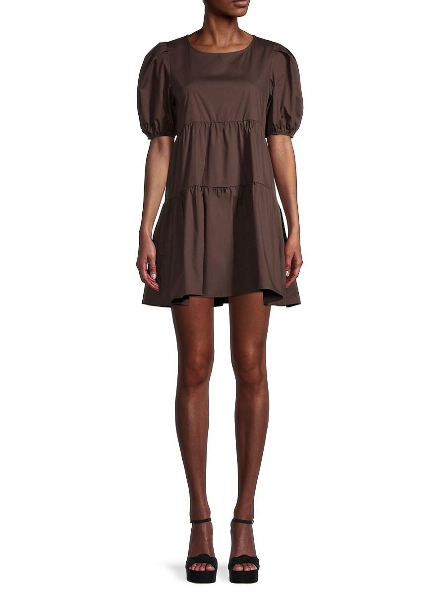 Women's Puffed-Sleeve Stretch-Cotton Mini Tiered Dress