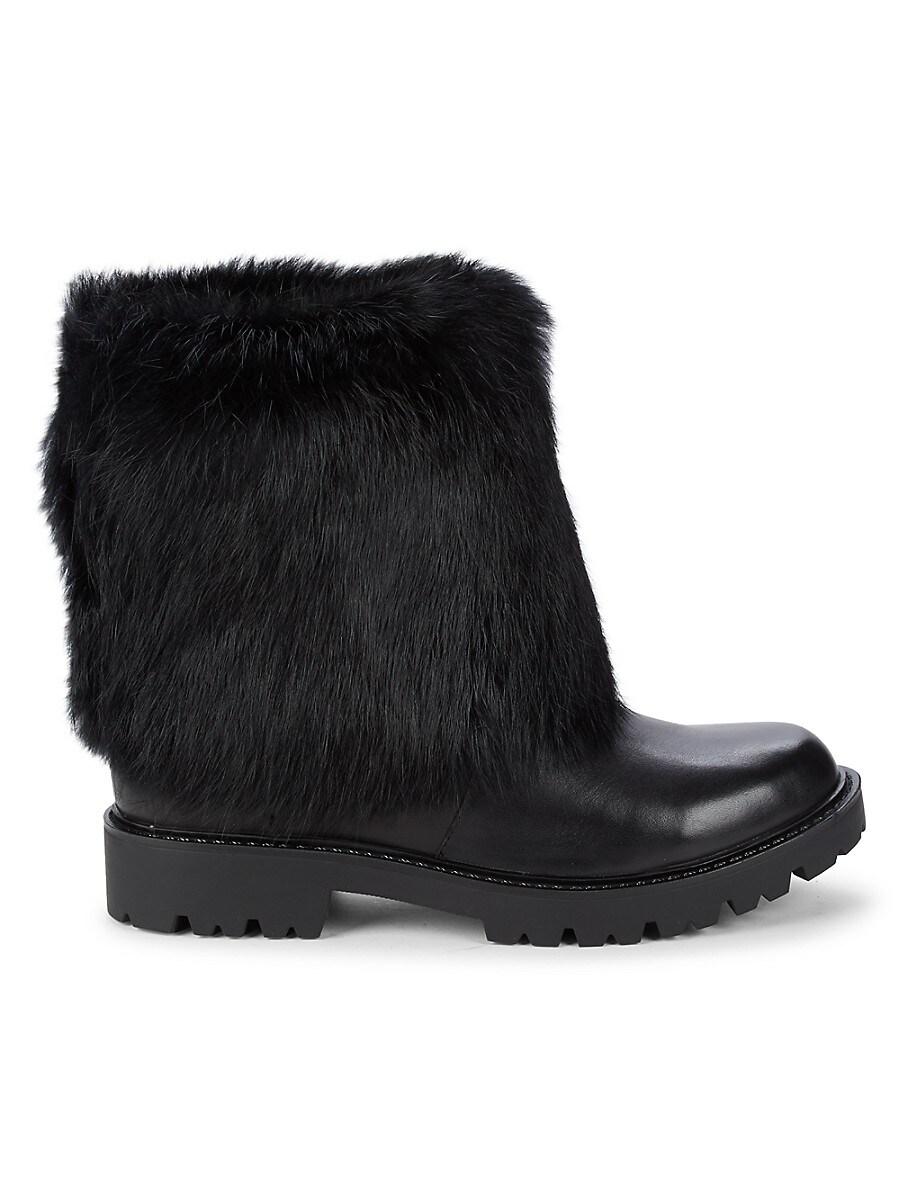 Women's Regent Leather & Rabbit Fur Boots
