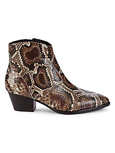 아쉬 부츠 ASH Henna Snakeskin-Embossed Leather Booties,ESPRESSO