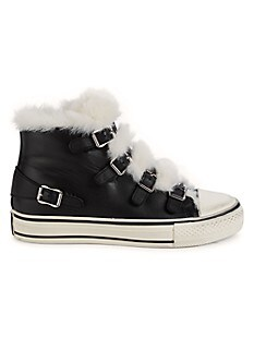 아쉬 에코퍼 트림 스니커즈 ASH Valant Faux Fur Trim Leather High-Top Sneakers