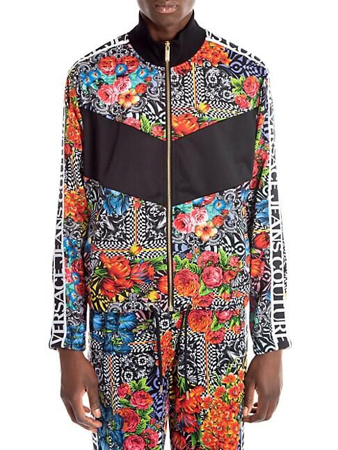 Versace Flower Print & Logo Tape Track Jacket In Black Multi