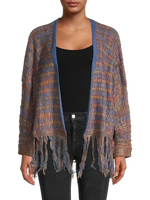 Allison New York Fringed Open-Front Sweater