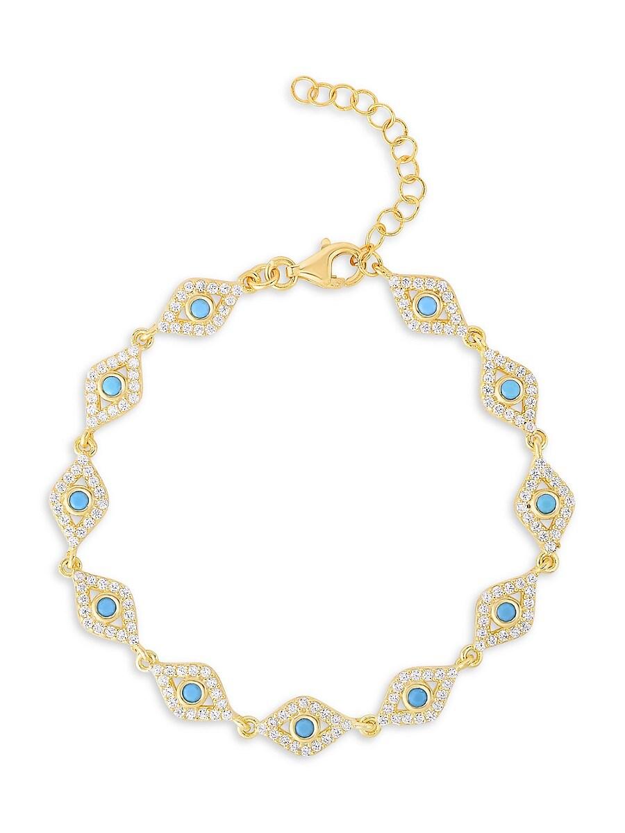 Women's 14K Yellow Gold Vermeil & Cubic Zirconia Evil Eye Chain Bracelet