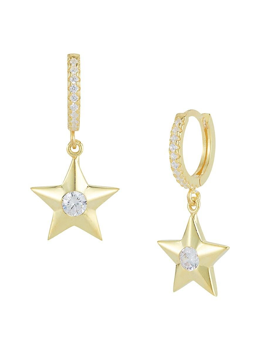 Women's 14K Gold Vermeil & Cubic Zirconia Hoop-Star Drop Earrings