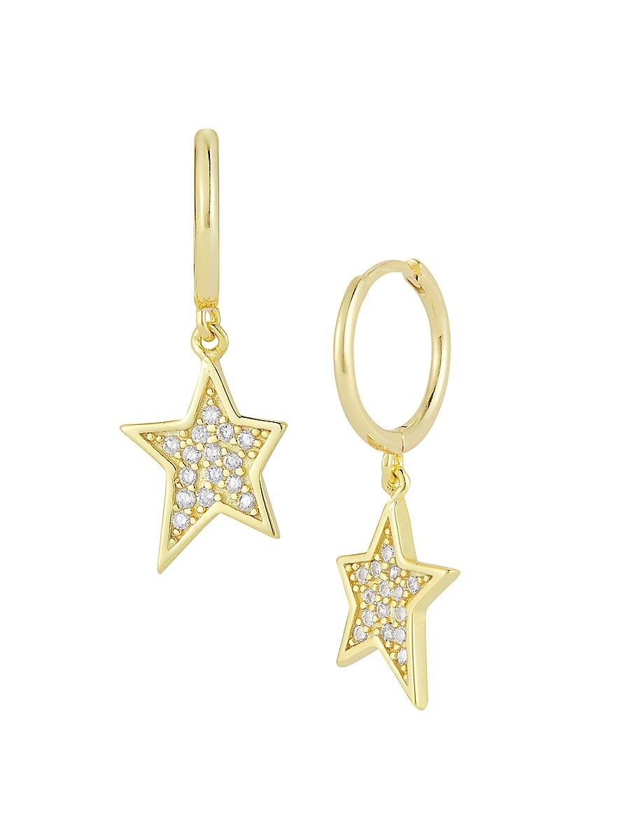 Women's 14K Yellow Gold Vermeil & Cubic Zirconia Hoop-Star Drop Earrings